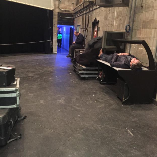 sleeping stagehand